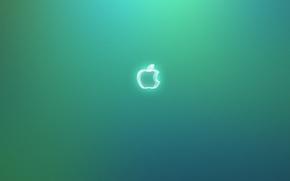 Обои apple, яблоко, зеленый фон