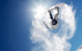 Картинка солнце, снег, горы, прыжок, сноуборд