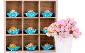 Картинка цветы, шоколад, розы, букет, конфеты, сладости, chocolate, roses