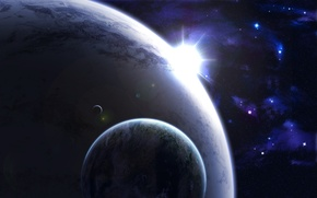 Картинка light, Star, big, planets, small, Sci FI