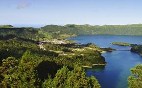 Картинка лес, пейзаж, природа, озеро, фото, Португалия, Azores