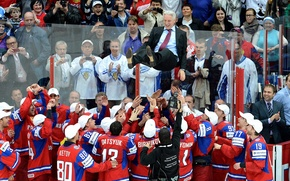 Картинка чемпионат мира 2012, Россия-чемпион!, швеция-финляндия, радость команды