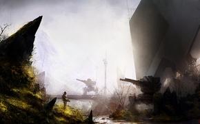 Картинка Солдат, Оружие, Арт, Military, Sci-fi, Пост