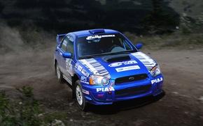 Картинка Машина, Поворот, Авто, wrx, Передок, Impreza, Занос, WRC, Синий, Rally, Subaru, Ралли