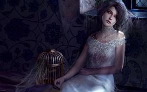 Картинка девушка, ночь, фентези, замок, паутина, клетка, POLAND, Marta Dahlig