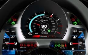 Картинка спидометр, Koenigsegg, индикаторы, датчики, Agera, приборная панель, указатель уровня топлива, указатель температуры масла, указатель давления ...