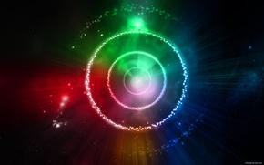 Картинка круги, синий, красный, зеленый, вселенная