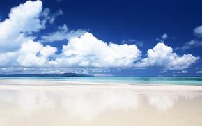 Картинка песок, море, облака, берег