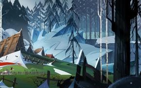 Картинка лед, лес, снег, дом, люди, водопад, деревня, флаг, ice, house, forest, путешествие, wood, snow, people, …