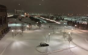 Картинка зима, снег, ночь, мороз, USA, США, night, winter, snow, frost