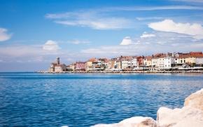 Картинка море, город, крыши, Пиран, Словения, Адриатика