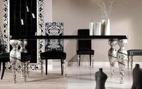 Картинка белый, дизайн, стиль, стол, комната, черно-белый, черный, стулья, интерьер, серебряный, кухня