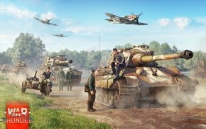 Картинка Art, Bf-109, Tiger II, War Thunder, Video Game, Infantry, Tanks, Planes, Germans
