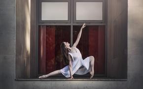 Картинка девушка, поза, окно, балерина