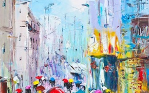 Картинка небо, город, зонтик, дождь, улица, дома