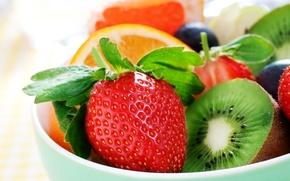 Обои fruit, strawberry, киви, ягоды, kiwi, berries, фрукты, orange, апельсин, клубника