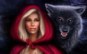 Картинка девушка, волк, хищник, красная шапочка, капюшон, Photoshop, Нelena