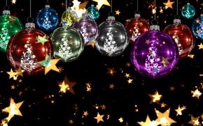 Картинка звезды, шарики, украшения, сияние, фон, праздник, яркие, игрушки, графика, блеск, новый год, рождество, ёлка, золотой, …