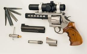 Обои пистолет, оптика, ствол, револьвер, насадки