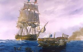 Картинка море, волны, небо, облака, корабли, картина, арт, художник, парусники, морской бой, Tom Freeman