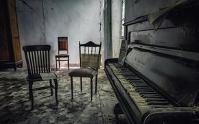 Картинка ноты, стулья, пианино