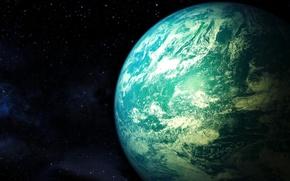 Картинка космос, звезды, планета, атмосфера, арт, deathcl0ck