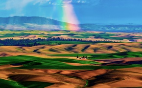 Картинка небо, холмы, поля, радуга, долина, домик, ковры