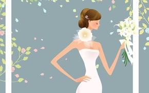 Картинка белый, вектор, букет, невеста, свадьба