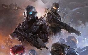 Обои оружие, корабль, Microsoft, команда, шлем, броня, Лок, Мастер Чиф, Locke, Chief, Halo 5: Guardians, 343i