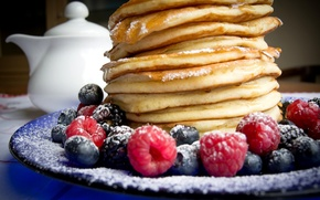 Картинка ягоды, малина, черника, блины, выпечка, berries, breakfast, pancakes