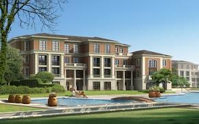 Обои дом, бассейн, девушка, дача, особняк