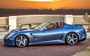 Картинка закат, голубой, Ferrari, кабриолет, феррари, blue, sundown, cabrio, pininfarina, Superamerica 45