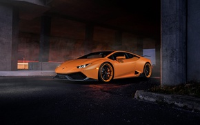 Картинка Lamborghini, Dark, Orange, Front, Color, Tuning, Supercar, Huracan, LP610-4