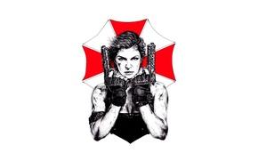 Картинка cinema, skull, girl, zombie, gun, blood, pistol, logo, weapon, woman, Resident Evil, Milla Jovovich, Alice, ...