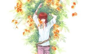 Картинка цветы, аниме, арт, парень, Курама, Yu Yu Hakusho