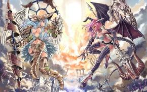 Картинка девушка, борьба, ангел, аниме, демон, арт