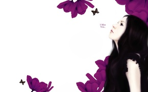 Обои цветы, I miss you, Я скучаю по тебе, девушка, длинноволосая, Enakei, надпись