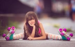 Картинка девочка, взгляд, ролики