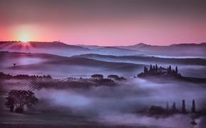 Обои италия, холмы, небо, солнце, туман
