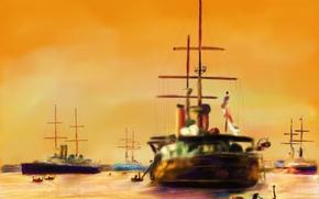 Обои картина, корабли, лодка, морской пейзаж