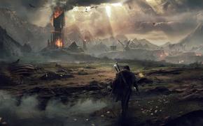 Обои Небо, Облака, Горы, Дым, Огонь, Свет, Меч, Воин, Здание, Искры, Пламя, Арт, Призрак, Warner Bros. ...
