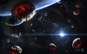 Обои звезда, планета, Звезды, Космос, Метеориты