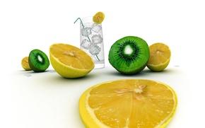 Обои вода, лимон, пища