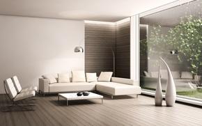 Картинка диван, дерево, кресло, столик, вазы