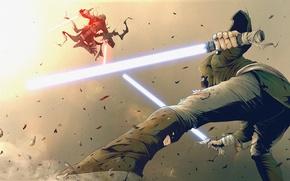 Картинка battle, jedi, sith, lightsiber