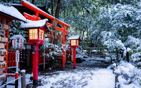 Картинка зима, снег, Япония, фонари, храм, Japan, врата, Kyoto, Киото, Тории, Torii gate, Nonomiya Shrine, Храм …