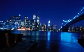 Обои ночь, мост, город, река, обои, небоскребы, wallpaper, нью-йорк, new york, world trade center, wtc, манхэттен, ...
