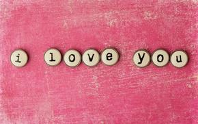Картинка любовь, буквы, фон, розовый, надпись, слова, I love you