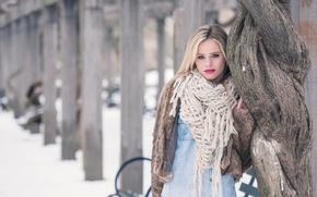 Картинка модель, макияж, шарф, шубка, Lara Sargent