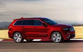 Картинка машина, красный, скорость, джип, red, SRT, Jeep, Grand Cherokee